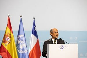 Minister for the Environment and Water Resources Masagos Zulkifli delivering Singapore's national statement at the annual United Nations climate conference in Madrid on Dec 10, 2019.
