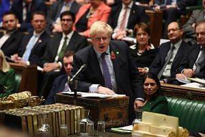 British Prime Minister Boris Johnson speaking at the House of Commons in London, Britain, on Oct 30, 2019.