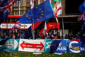 Anti-Brexit demonstrators with flags and banners seen outside the Houses of Parliament in London, on Oct, 30, 2019.