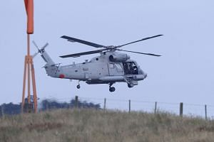 An airforce helicopter leaves Whakatane airport for White Island.