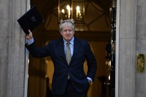 Britain's Prime Minister Boris Johnson delivers a speech at 10 Downing Street in London after his victory.