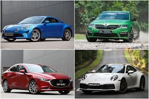 Among the 10 cars vying to be The Straits Times Car of the Year are the (clockwise from top left) Alpine A110, Skoda Octavia RS245, Porsche 911 and Mazda 3.
