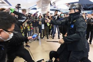 Police deploy pepper spray during a protest at the New Town Plaza shopping mall in Hong Kong's Sha Tin district on Dec 15, 2019.