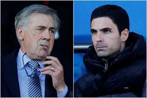 Carlo Ancelotti (left) was confirmed as Everton's new boss 24 hours after Mikel Arteta took charge of Arsenal.