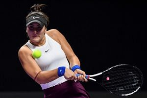 Bianca Andreescu in action during the WTA Finals tennis tournament in Shenzhen, China, on Oct 30, 2019.