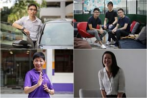 Education consultant Chalmers Chin, Carousell co-founders Marcus Tan (right), Quek Siu Rui and Lucas Ngoo, former technology consultant Gillian Tee, and former computer professional Angie Chew.