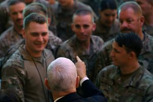 US Vice-President Mike Pence visiting US troops at Al Asad Air Base in Iraq in November 2019.