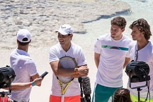 (From left) Spain's Roberto Bautista Agut, Rafael Nadal, Pablo Carreno Busta and Feliciano Lopez during a visit to a Rottnest Island beach on Jan 1, 2020, ahead of the ATP Cup tennis tournament later in the week.