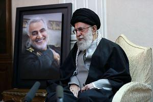 Iran's Supreme Leader Ayatollah Ali Khamenei speaks to the family of killed Iranian Revolutional Guards commander Qasem Soleimani (picture), in Tehran.