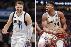 Dallas guard Luka Doncic and Bucks forward Giannis Antetokounmpo (right) both received over a million fan votes. Los Angeles Lakers star LeBron James was the only other player to reach that mark.