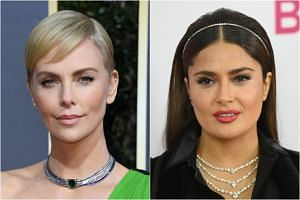 (From left) Actresses Charlize Theron and Salma Hayek were among the people who might be called as witnesses or mentioned in testimony during the rape trial of the movie producer Harvey Weinstein.