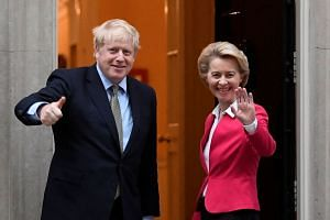 Britain's Prime Minister Boris Johnson meets European Commission President Ursula von der Leyen in London.