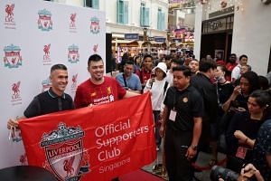 Former Liverpool midfielder Luis Garcia meeting fans during the launch of Liverpool FC's first official club store in Bugis Junction, on Jan 10, 2020.