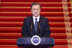 South Korean President Moon Jae-in (pictured) said US President Donald Trump's recent letter to North Korean leader Kim Jong Un was a good sign.