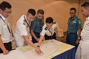 Participants from the navies of Indonesia, Malaysia, Singapore and Thailand at the 14th Malacca Straits Patrol Joint Coordinating Committee meeting, on Jan 15, 2020.