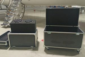 Metal instrument cases, claimed to be used during the escape of ousted Nissan boss Carlos Ghosn from Japan to Lebanon through Turkey, at Ataturk International Airport.