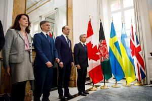 (From left) Swedish Minister of Foreign Affairs Ann Linde, Ukrainian Minister of Foreign Affairs Vadym Prystaiko, Britain's Foreign Secretary and First Secretary of State Dominic Raab and Canadian Minister of Foreign Affairs Francois-Philippe Champag