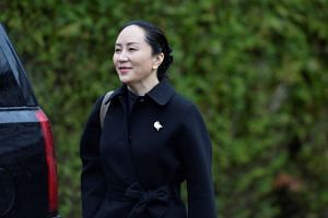 Meng Wanzhou leaves home to attend her extradition hearing in Vancouver, Jan 22, 2020.