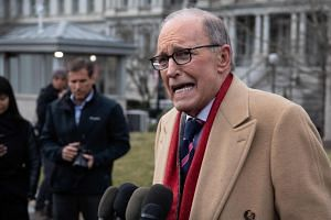 A January 2020 photo shows Kudlow speaking to the press at the White House in Washington.