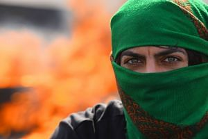 An Iraqi anti-government protester takes part in a demonstration against followers of influential cleric Moqtada Sadr, in Najaf on Feb 5, 2020.