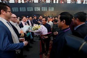 Cambodia's Prime Minister Hun Sen welcoming the passengers and crew of MS Westerdam.
