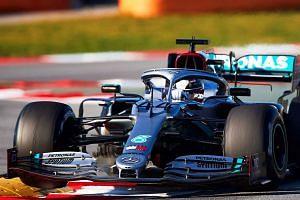 Mercedes driver Lewis Hamilton in action during pre-season testing near Barcelona, Spain, Feb 20, 2020.