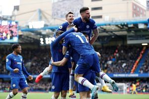 Olivier Giroud (top right) and Marcos Alonso came in from the cold to inspire Chelsea's 2-1 win against Tottenham, on Feb 22, 2020.