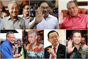 Clockwise from top left: Mr Mahathir Mohamad, Mr Anwar Ibrahim, Mr Muhyiddin Yassin, Mr Azmin Ali, Mr Lim Guan Eng, Mr Ahmad Zahid Hamidi and Mr Hishammuddin Hussein.