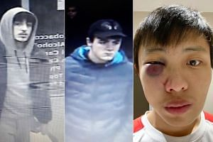 (From left) Images of two of the four men who allegedly assaulted Singaporean Jonathan Mok in a coronavirus-related racist attack.