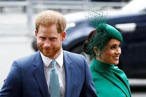 Britain's Prince Harry and Meghan, Duchess of Sussex, arrive for the annual Commonwealth Service at Westminster Abbey in London, Britain, on March 9, 2020.