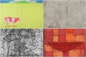 Works produced at STPI - Creative Workshop & Gallery include (clockwise, from top left) Shinro Ohtake, Pasture, 2015; Zeng Fanzhi, Wintry Trees, 2018; Pinaree Sanpitak, Breast Vessel 5, 2018; and Dinh Q. Lê, Splendor & Darkness, 2017.