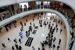 Anti-government protesters staging a rally inside a shopping mall in Hong Kong on April 24, 2020.