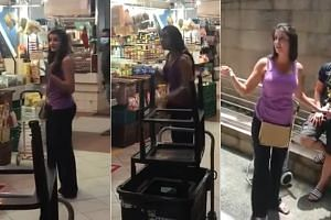 The woman was filmed not wearing a mask at Shunfu Mart and engaging passers-by in a heated argument.