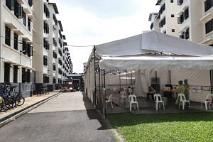 A medical point setup in Woodlands Dormitory, on May 24, 2020.