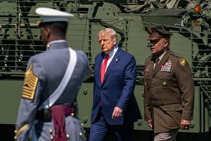 US President Donald Trump arrives at the commencement ceremony for cadets on June 13, 2020, in West Point, New York.
