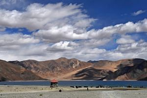 This picture taken on Sept 14, 2018, shows a lake in Ladakh, in the border region between India and China.