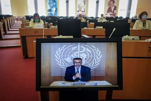 WHO chief Tedros is seen on a screen during a video hearing on EU strategy for Covid-19 in Brussels, June 25, 2020.