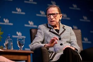 Ruth Bader Ginsburg speaks during a reception at the University of Buffalo in August 2019.
