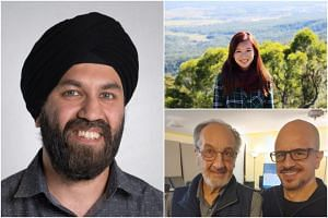 (Clockwise from left) Singaporeans Dilpreet Singh and Regine Lau, and Singapore permanent resident Paul Falzon with his father Norman.