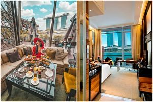 Afternoon tea at The Landing Point in the Fullerton Bay Hotel and the interior of a Premier Bay View Room.