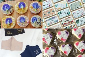 Pebble sables topped with edible flowers, mask cases, personalised cookies and masks embroidered with quotes on teaching.