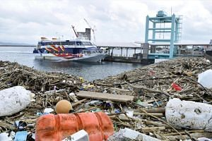 Debris washed up by Typhoon Haishen at a port in Kagoshima, Japan on Sept 7, 2020.