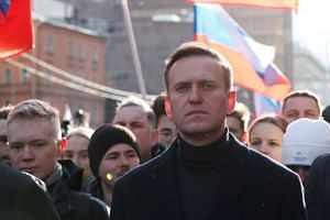 Alexei Navalny takes part in a rally in Moscow,in February 2020.