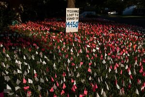 Plastic flags, each representing a Texan who has died from Covid-19, are displayed outside of artist Shane Reilly's home in Austin, Texas.