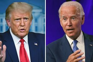 Trump (left) and Biden will spar for 90 minutes on Sept 29, 2020.