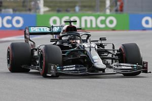 Lewis Hamilton during the qualifying session for the Russian Grand Prix in Sochi on Sept 26, 2020.
