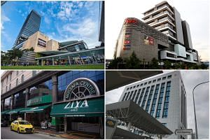 (Clockwise from top left) Westgate, Jem, the ICA building and Mustafa Centre were among the places visited by Covid-19 patients while they were infectious, said MOH on Oct 30, 2020.