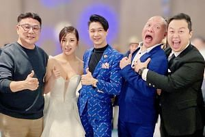 (From left) Director Jack Neo, the bride Lizy Teo, the groom Maxi Lim, emcee Justin Misson and DJ Jerald Justin Ko at the wedding reception.