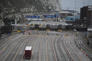 A small but steady stream of lorries arrived through the morning at the port in Dover.