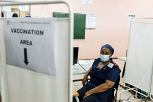 A nurse waits to receive a dose of the Johnson & Johnson Covid-19 vaccine at the Prince Mshiyeni Hospital in Umlazi, in Durban, on Feb 18, 2021.